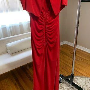 XSCAPE formal gown mid length slit